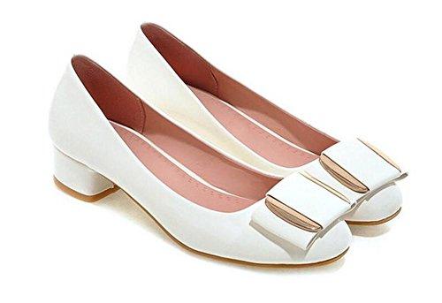 con Zapatos Corte de Dedo Zapatos del Solo 36 pie Metal bajo Tacón XIE Redondo WHITE de 38 Grueso qSgvBz