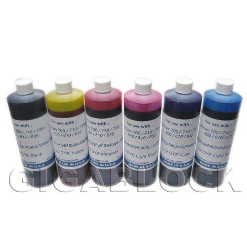 Gigablock UV Dye based 6 Bulk Pint(470ml x 6 bottles) inks of Refill Ink Set for CIS System Epson Artisan 700, 710, 725, 730, 800, 810, 835, 837 - Made in USA ()