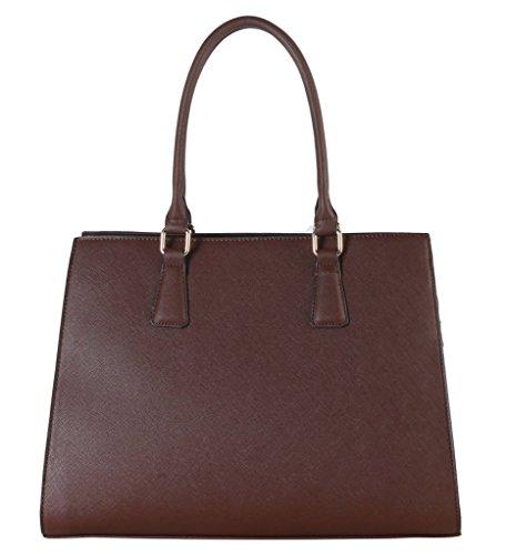 Rimen & Co. Saffiano PU Leather Concise Design Large Structured Tote Womens Purse Handbag SZ-3750 (Discount Designer Bags)