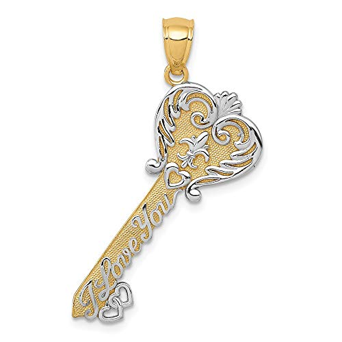 (14k Yellow Gold White I Love You Filigree Heart Key Pendant Charm Necklace With Fine Jewelry Gifts For Women For Her)