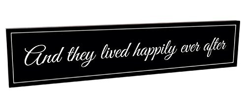 They Lived Happily Ever After 5 x 24 Black Carved Wood Wall Art Sign Plaque
