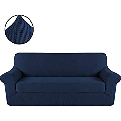 H.VERSAILTEX Durable Soft High Stretch Jacquard 2 Pieces Sofa Slipcover Navy Couch Covers Lycra Furniture Protector Machine Washable Spandex Sofa Covers, 3 Seater Sofa Size