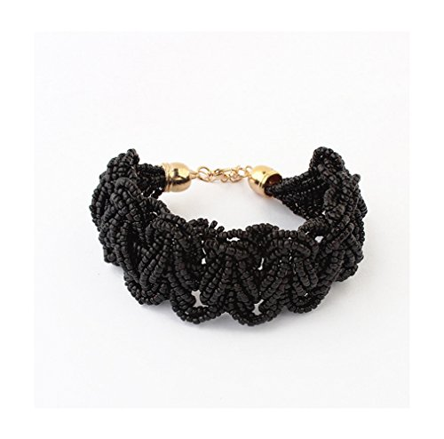 Price comparison product image Winter's Secret Bohemia Female Sweet Rice Bead Hand Weaving Bracelets Black Color Vintage Jewelry