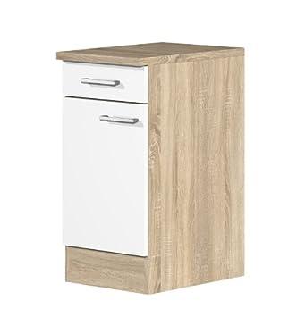 Küchenunterschrank  Küchen Unterschrank 40 cm weiss Sonoma Eiche - Salerno: Amazon.de ...