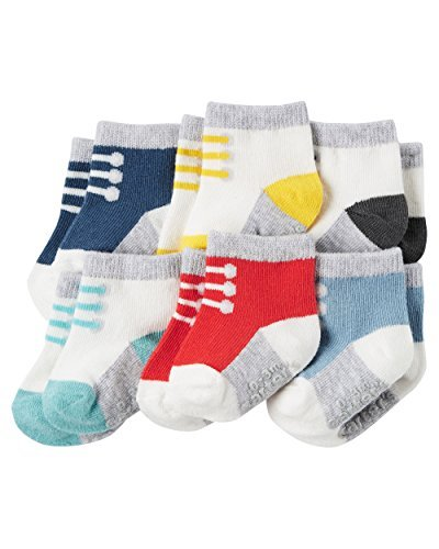 Carter's Baby Boy 6-Pack Sneaker Booties Socks (12-24 Months, Multi)