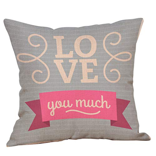 Littay Throw-Pillow-Covers, Happy Valentine's Day Throw Pillow Case Sweet Love Cushion Cover -