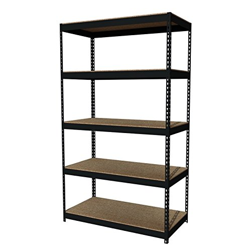 Iron Horse Rivet 5-Shelf Metal and Wood Shelving Unit, 24-Inch by 48-Inch by 84-Inch