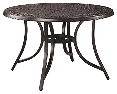 Ashley Furniture Signature Design - Burnella Round Dining Table - Outdoor- Rust Free Cast Aluminum - Dark Metal