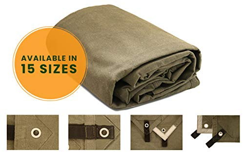 Canvas Tarp Heavy Duty Waterproof 18 oz. Mold & UV Resistant with Rustproof Grommets, Reinforced Edges, Waxed tarp for Industrial & Commercial use (Cut Size: 6x8 Finish Size: 5
