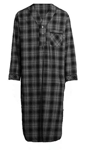 (Stafford - Men's Flannel Nightshirt (Black Gray Plaid, XX-Large))