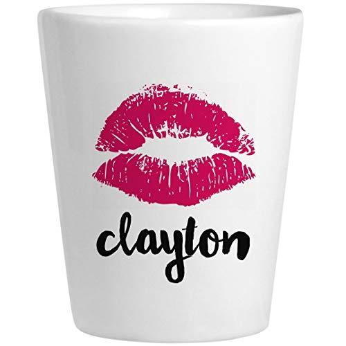 Clayton Birthday Kiss Gift: Ceramic Shot Glass -