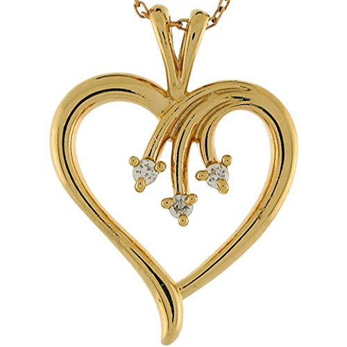 - Jewelry Liquidation 14k Yellow Gold Diamond 2.7cm Unique Large Open Heart Slide Pendant