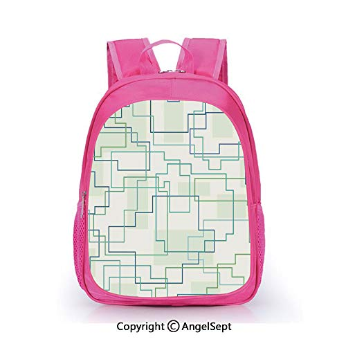 (Fashion Kindergarten Children Waterproof Bookbag,Futuristic Design Like a Subway Line with All Routes in Town Pattern Mint Royal Blue,15.7inch,Elementary School Travel Bag For Girls )