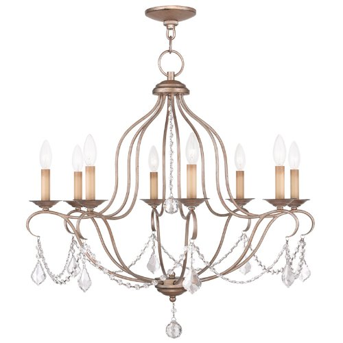 Livex Lighting 6427-73 Chesterfield 8 Light Chandelier, Hand Painted Antique Silver Leaf