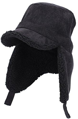 Winter Warm Corduroy Quilted Earmuffs Earflap Bomber Hat Aviator Russian Ushanka Trapper Winter Hat Baseball Cap (Black)