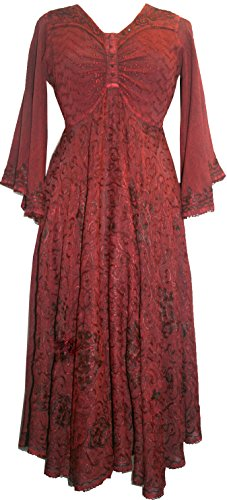 207 DR Medieval Butterfly Embroidered Dress [Burgundy; (Rennaisance Dress)