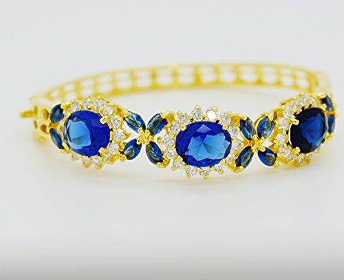 Gorgeous 22k 23k 24k Yellow Gold Plated Women Rare Thai Flower Cubic Zirconia Cz AAA Syn Blue Sapphire Bracelets Cuff Bangle 5 Mm 5.5 Cm