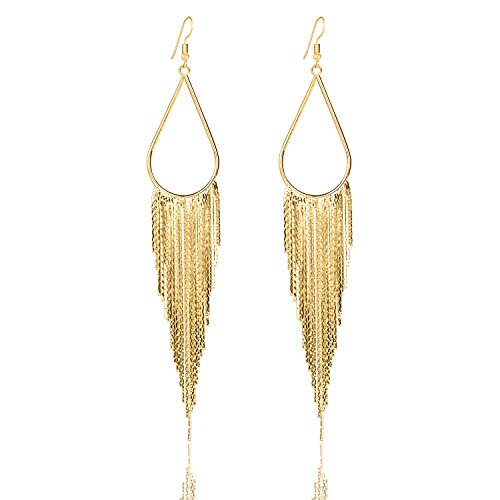 Vijiv 1920s Drop Tassel Earrings 20s Flapper Jewelry Costumes Accessories Gold