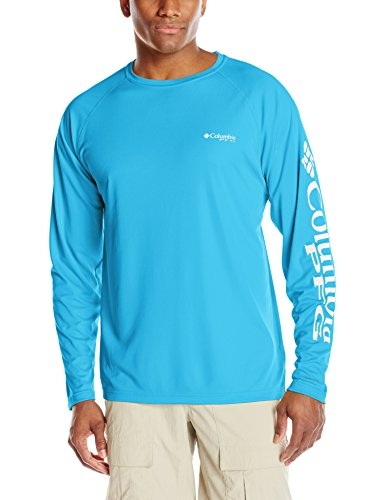 (Columbia Men's PFG Terminal Tackle Long Sleeve Tee , Riptide/White Logo, X-Large )