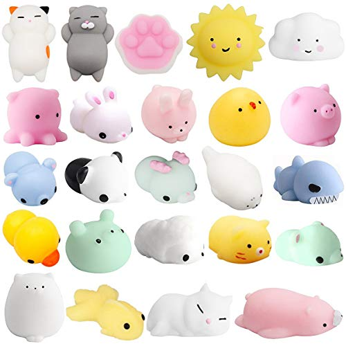 Mochi Squishys Toys, 24 Pcs Cute Kawaii Squishies Animals Stress Relief Toys for Kids Adults Soft Squeeze Reliever Anxiety Toys Cat Panda Seal Polar Bear Fox Rabbit Cat Claw Easter Egg Fillers Gifts