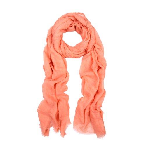 Premium Large Solid Color Frayed Edge Scarf Shawl Wrap, Peach