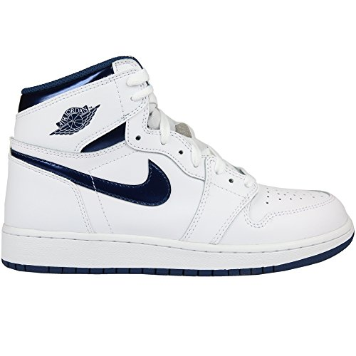 Jordan Nike Kids Air 1 Retro High OG BG White/Midnight Navy Basketball Shoe 7 Kids US by NIKE