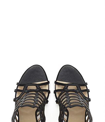 PoiLei Gaia - sandales en cuir à talon haute aiguille - avec bout ouvert et découpes noir
