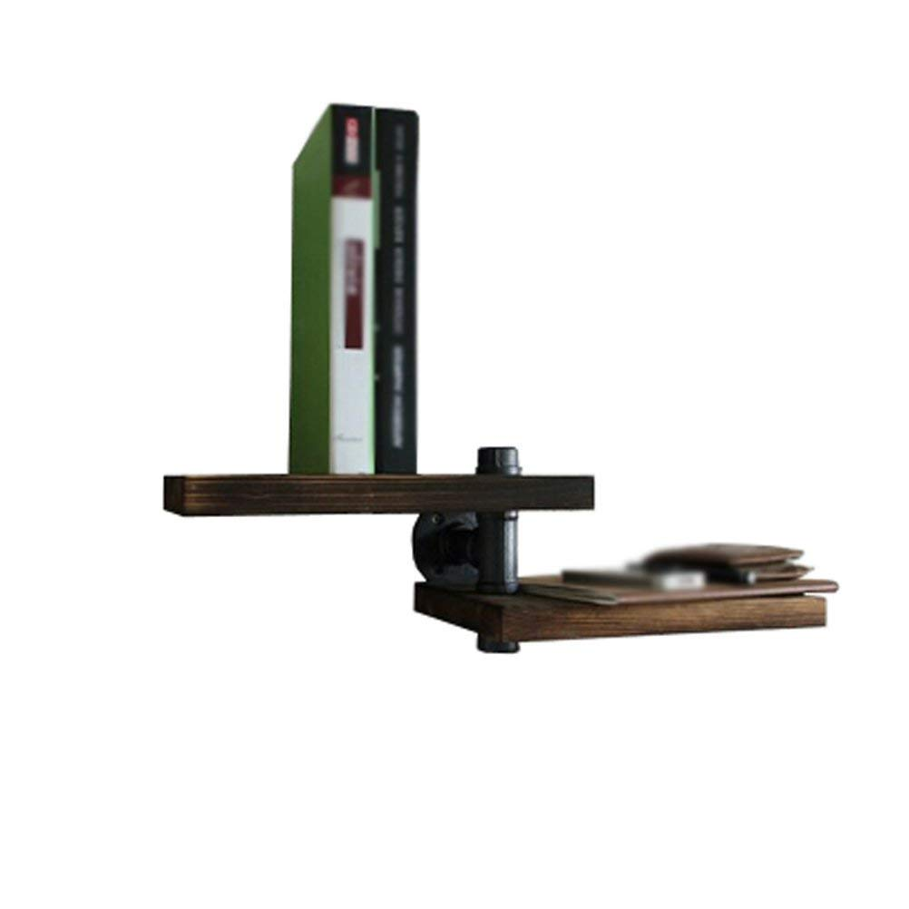 YCT ヴィンテージ純木単語仕切り鉄本棚setopボックスクリエイティブ水道管壁装飾フレーム棚 B07RP14977
