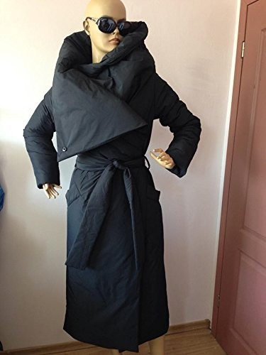 Long Loose winter collar square down jacket/Atmosphere comfortable and warm asymmetrical wrap overcoat in black. by StudioMariya