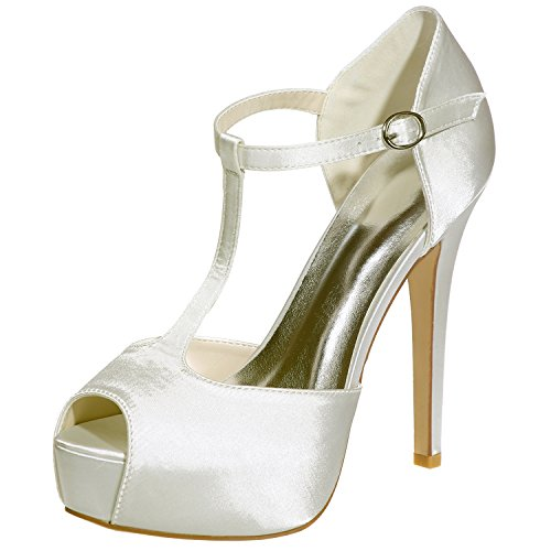 Loslandifen Women's Peep Toe T-Strap Sandals Stain Platform High Heels Wedding Party Shoes(3128-37Silk37,Mibai) - Ivory T-strap Sandal