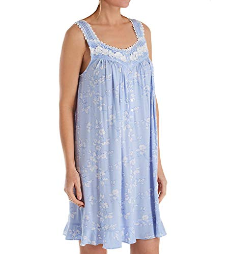 Floral Ruffled Chemise - Eileen West Women's Modal Spandex Short Chemise Light Peri Ground/Etched Floral Small