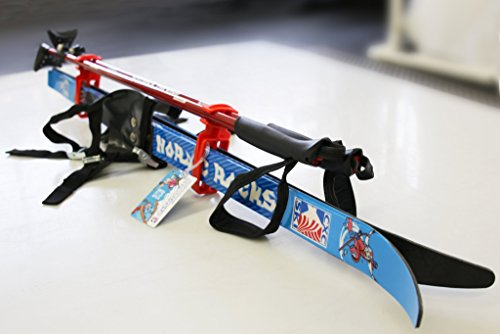 Nordic Rocks Kid's XC Skis and Poles 47 inch Youth skis with Step in bindings and Adjustable Poles
