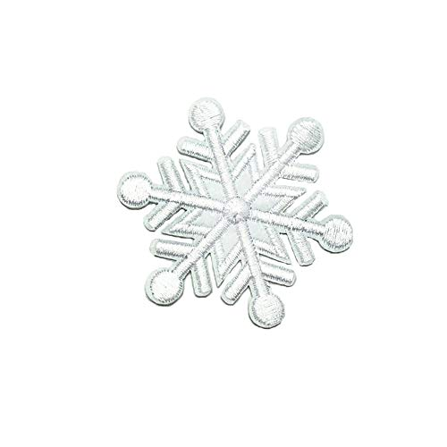 Rancheng 5pcs Christmas Snowflake Patches White Patch Cloth Sticker Embroidered DIY Patch Fabric Garment Accessories Applique for T-Shirt Sweater Decoration Patches