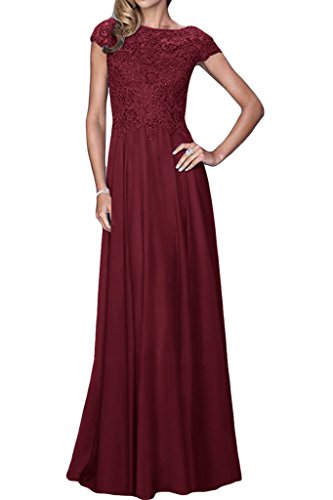 Promkleid Abendkleid Exquisite Aermel A Kurz amp;Spitze Lang Linie Chiffon Weinrot Ivydressing Partykleid Damen qPgSxwnv