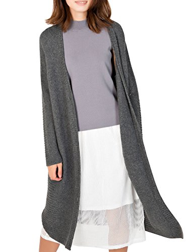 Womens Charcoal Grey Lambswool - DELUXSEY Lambswool Blend Longline Cardigan - Open Cardigans (Charcoal Grey, L)