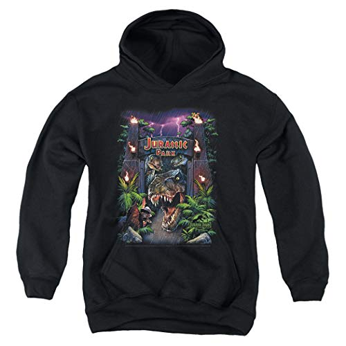 Island Hoodie Kids - Popfunk Jurassic Park Welcome to The Park Kids Youth Pullover Hoodie & Stickers (Large)