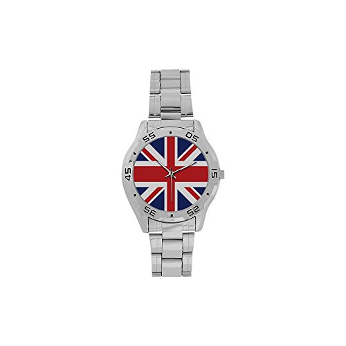 Novelty Gift UK British Flag Men's Stainless Steel Analog -