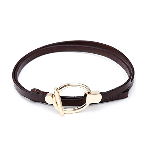 Boshiho Women's Ms lady Leather Cowhide Belt 100% Full Grain Leather Apparel Belt Buckle Waist Belt Thin Band (Louis Vuitton Cowhide Leather)