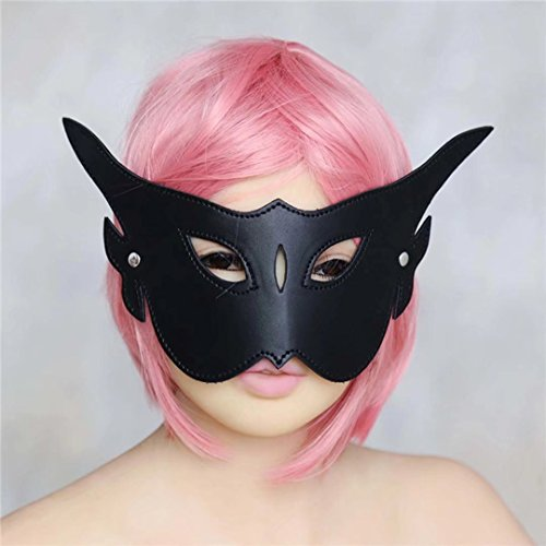 Briviee Queen Long Corners Long Ear Leather Blindfold Mask Eye Mask for Halloween Stage Props For Prom Role Play