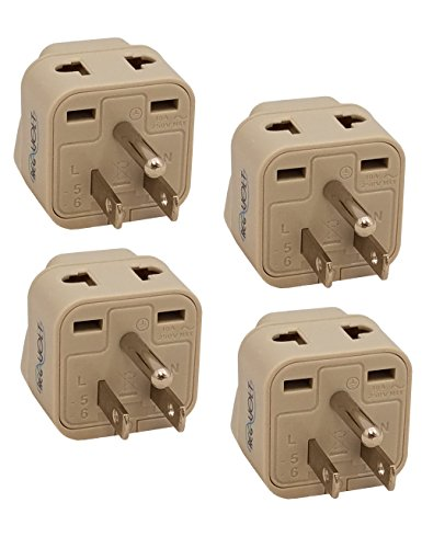 REGVOLT USA Travel Plug Adapter 2 in 1 Universal Grounded Plug Adapter (Type B - USA, 4 - Pack)