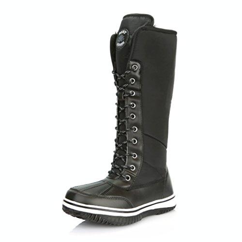 High Zipper (DailyShoes Women's Knee High 2-Tone Lace Up Décor Zipper Cowboy Warm Fur Water Resistant Eskimo Snow Boots, 10)
