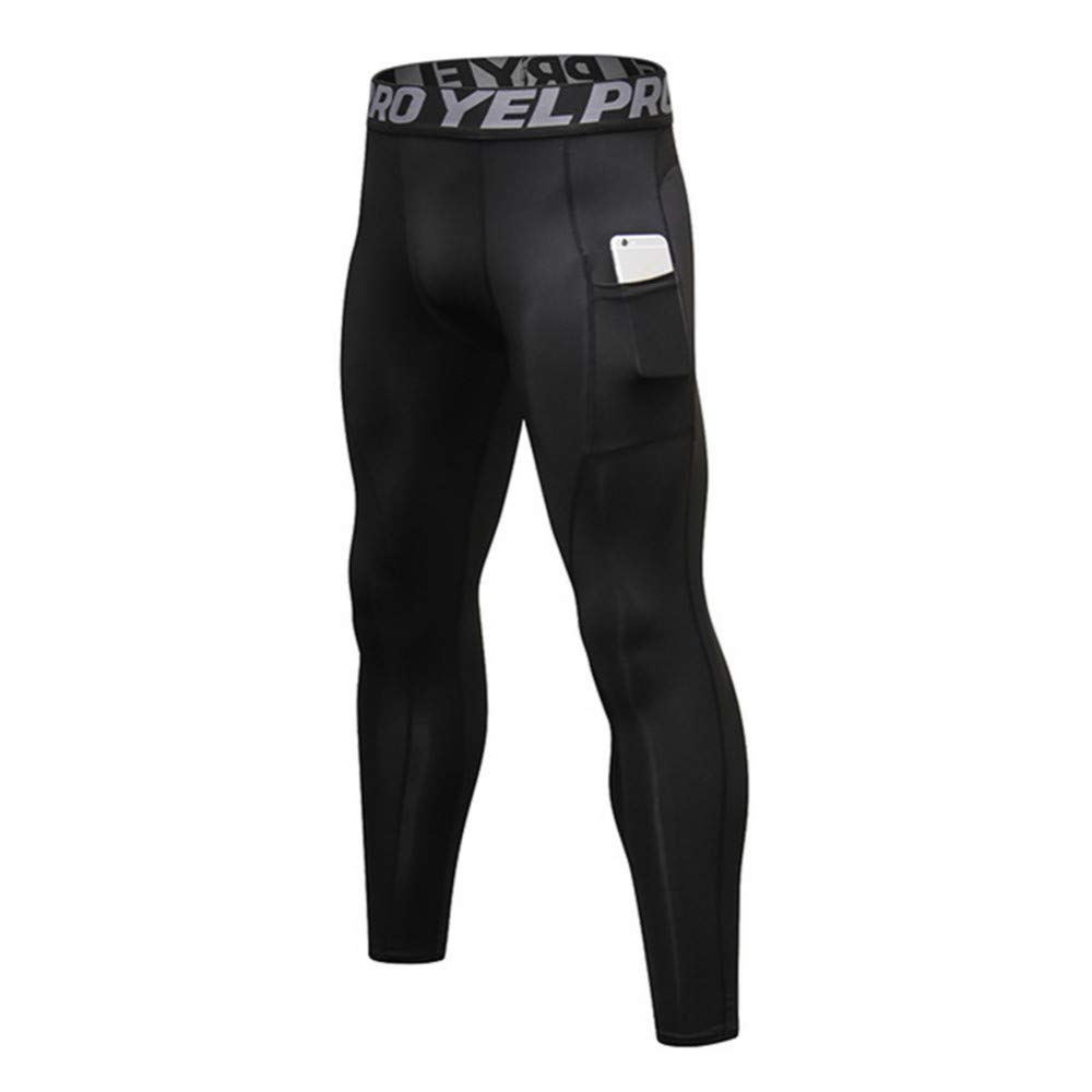 Men Compression Tight Pants with pockets Gym Fitness Long Leggings Sport Skinny