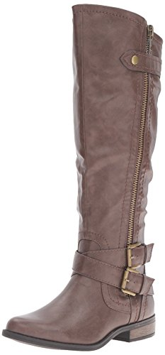 Rampage Women's Hansel Zipper and Buckle Knee-High Riding Boot,Brown Sm Brown Smooth,8 B(M) US Wide Calf