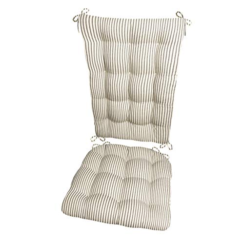 Presidential High Back Chair - Ticking Stripe Black Rocking Chair Cushions - Extra-Large - Seat Pad and Back Rest with Ties- Reversible, Latex Foam Fill - Made in USA (Presidential/Black - Natural)