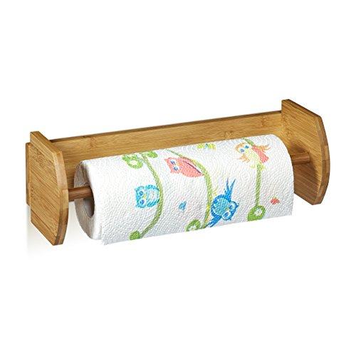 Relaxdays Wand Küchenrollenhalter Bambus HBT: 12 x 37 x 13 cm ...