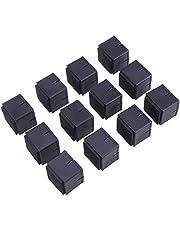 Yardwe 12 PCS Silla Tapas de Patas Pies Almohadillas Muebles Cuadrados Cubiertas de Mesa Protectores de Piso de Madera (Negro)