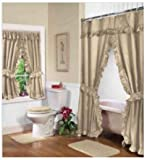 Shower Curtains with Matching Window Curtains Home Fashions Beige Linen Double Swag Shower and Window Curtain Set with liner