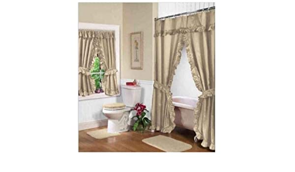 Amazon Home Fashions Beige Linen Double Swag Shower And Window Curtain Set With Liner Kitchen
