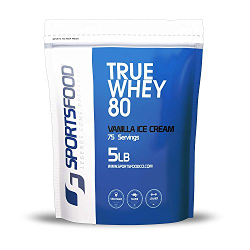 Sports Food True Whey 80 - 100% Pure Protein Concentrate (Vanilla Ice Cream, 5 lbs) Low Carb & Sugar Free, Clean Performance & Weight Loss Protein Powder, Only 5 Ideal Ingredients