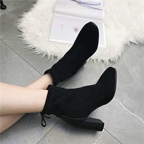 Olici Damen-Stiefel mit rundem Kopf, 8 8 8 cm rauer Ferse, Wildleder, dünne Beine, elastisch a6b54e